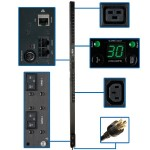 Single-Phase Switched PDU, 5/5.8kW 30A 208/240V, 0U Vertical Rackmount, 20 C13 and 4 C19 Outlets, NEMA L6-30P Input Plug