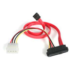 18in SAS 29 Pin to SATA Cable with LP4 Power - SATA / SAS cable - 4 pin internal power, 29 pin internal SAS (SFF-8482) to 7 pin SATA (R) - 1.5 ft - red - for P/N: DRW150SASBK
