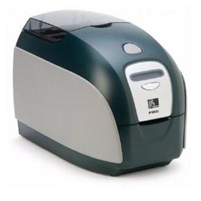 Zebra TechP100i single-sided single-feed card printer with USB and Ethernet connectivity (upgradeable to smart card encoder options) and starter ...