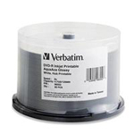Verbatim AquaAce Glossy White Inkjet Printable DVD-R (Hub Printable) 4.7GB 8x - 50 pack, Spindle 96552