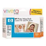 Custom 95/99 Series 100-Sheet Photo Value Pack - 2 - color (cyan, magenta, yellow), black photo (light cyan, light magenta, black) - print cartridge / paper kit - for Officejet 6310, H470; Photosmart 2575, C4140, C4150, C4180, D5069, D5160, Pro B8350
