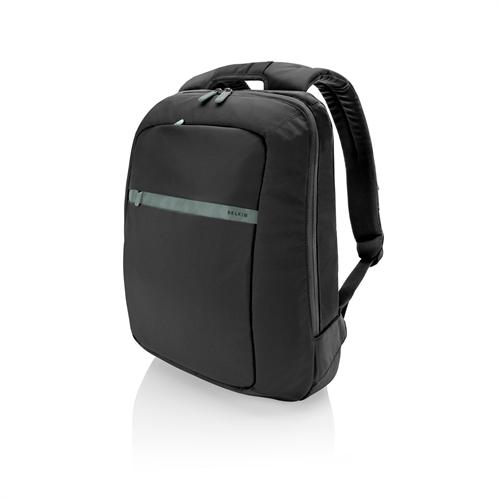 "Belkin Larchmont Backpack - 15.6"" Notebook carrying backpack - Pitch black with Soft Gray accents"