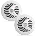 Dual 6.5'' Waterproof Marine Speakers, Full Range Stereo Sound, 150 Watt - White, Pair