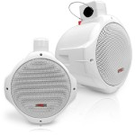 Pyle Dual Marine Wakeboard Water Resistant Speakers, 6.5-Inch 200 Watt Tower Speakers, White - Pair PLMRW65