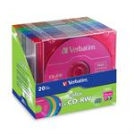 Verbatim Color - 20 x CD-RW - 700 MB ( 80min ) 4x - 12x - blue, yellow, purple, green, pink - slim jewel case 96685