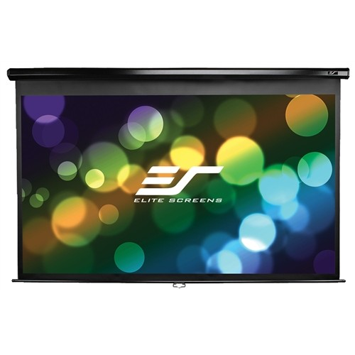 "Elite Screens Manual Projector Screen, MaxWhite 90"" x 120"" (150"" diagonal) 4:3, White Casing"
