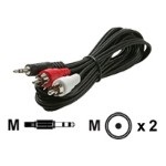 Steren Electronics Audio cable - RCA (M) to stereo mini jack (M) - 6 ft - shielded - black 255-045