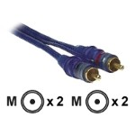 Metra Electronics Raptor Neon Blue NBRCA-3 - Audio cable - RCA (M) to RCA (M) - 3 ft - double shielded - neon blue NBRCA-3