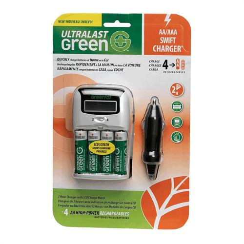 Ampergen ULTRALAST Green Switft Charger with 4AA High-Power Batteries