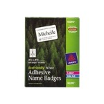 Avery Dennison EcoFriendly Name Badge - Name badge labels - white - 2.4 in x 3.3 in 400 label(s) ( 50 sheet(s) x 8 ) 45395