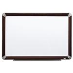Melamine Dry Erase Board, Mahogany Finish Frame  48 in x 36 in