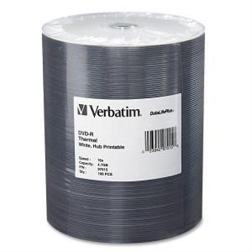 Verbatim DVD-R 4.7GB 16X DataLifePlus White Thermal Hub Printable 100pk Wrap