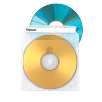Fellowes 50 Double-sided CD Sleeves provide storage for 2 CDs/DVDs or 1 CD/DVD plus inserts 90659