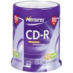 Memorex CD-R 52x 700MB/ 80MIN, Branded Disc - 100 Pack, Spindle 04581