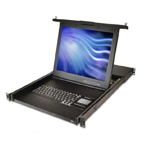 Avocent 1U 17-inch LCD console with integrated 16-port KVM switch, PS/2 keyboard, trackball