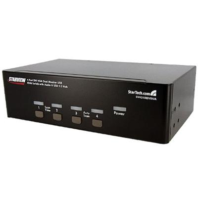 StarTech 4-Port DVI VGA Dual Monitor KVM Switch USB with Audio & USB 2.0 Hub (SV431DDVDUA)