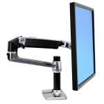 "Ergotron LX Desk Mount LCD Arm - Mounting kit (articulating arm, desk clamp mount, grommet mount, extension brackets) for LCD display - aluminum - polished aluminum - screen size: up to 32"" 45-241-026"