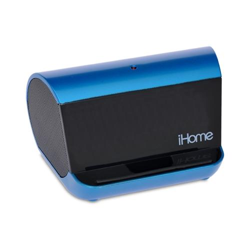 iHome iHM9LC MP3 Stereo Speaker System - Built in Audio Cable Portable - Blue