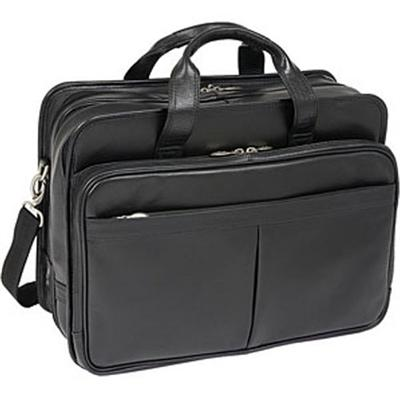17inch Leather Expandable Double Compartment Laptop Case - Black