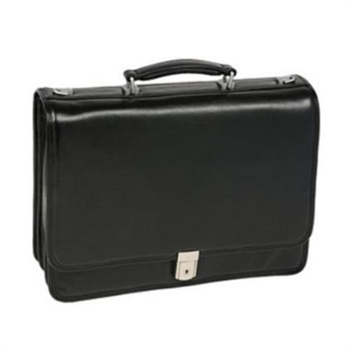 Mcklein Company River North Leather Triple Compartment Briefcase - Black