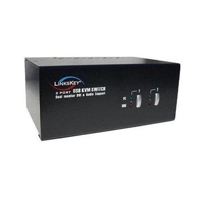 Linkskey2-port Dual Monitor DVI Audio & Mic KVM Switch w/ Cables(LDV-DM202AUSK)