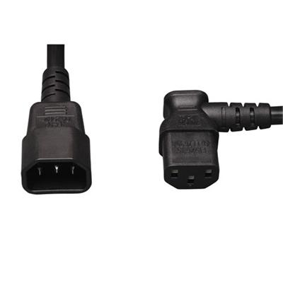 2' AC Power Extension Cable - C13 Right Angle to C14