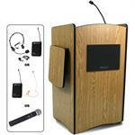AmpliVox Sound Systems Multimedia Computer Lectern - Wireless Sound, Medium Oak, SW3230-MO