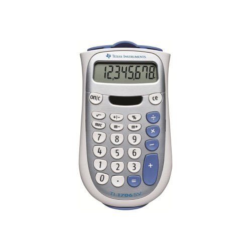 Texas Instruments TI-1706SV Handheld Pocket Calculator 8-Digit LCD Dual Power