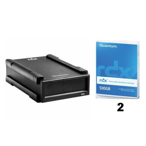 Quantum Quantum RDX Tabletop Kit, 500GB, USB 2.0, Black + 2 Quantum RDX 500GB Cartridge