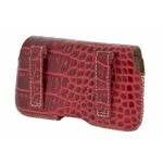 Hector Croco Large Premium Leather Case with Beltloops for iPhone 4/4S - Red