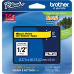 "Brother TZe631 12mm (0.47"") Black on Yellow tape for P-Touch 8m (26.2 ft) TZE631"