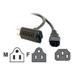 1.5ft 16 AWG Universal Power Cord With Extra Outlet - Power cable - IEC 60320 C13 to NEMA 5-15 - 1.5 ft - molded - black