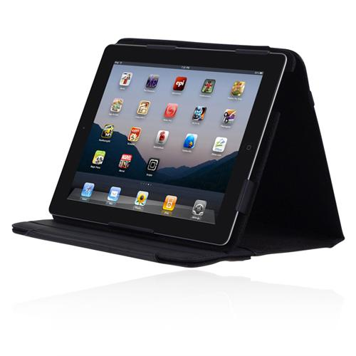 Incipio Premium Kickstand for Apple iPad 2 - Black Synthetic Leather with Light Gray Lining