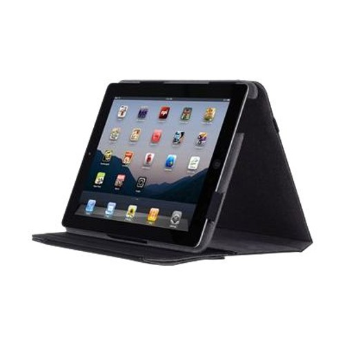 Incipio Executive Premium Kickstand for Apple iPad 2 - Black Premium Leather with Light Gray Lining