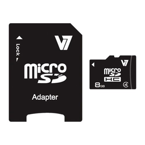 V7 8GB Micro SDHC Class 4 Card with SD Adapter