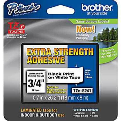 "Brother TZeS241 18mm (0.7"") Black on White Tape with Extra Strength Adhesive 8m (26.2 ft)"