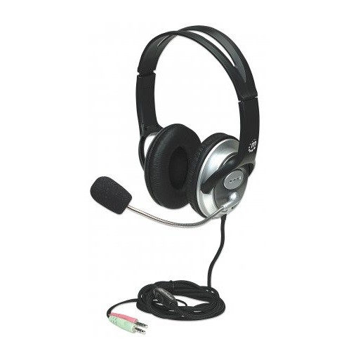 Manhattan Office Products Classic Stereo Headset with Flexible Microphone Boom - Black