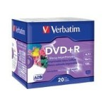 Verbatim 20 x DVD+R - 4.7 GB ( 120min ) 16x - white glossy - ink jet printable surface - slim jewel case 96122