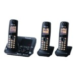 KX-TG7623B - Cordless phone - answering system - Bluetooth interface with caller ID/call waiting - DECT 6.0 Plus - black + 2 additional handsets