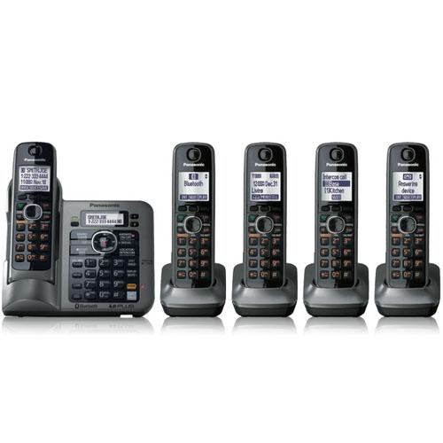 Panasonic KX TG7645M - cordless phone - answering system - Bluetooth interface with caller ID/call waiting + 4 additional handsets