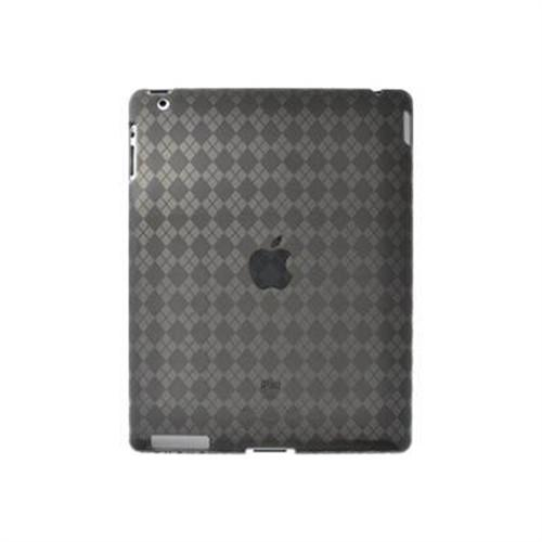 Amzer Luxe Argyle High Gloss TPU Soft Gel Skin Case - Smoke Grey For Apple iPad 2