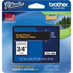 Brother TZe344 - Laminated tape - gold on black - Roll (0.7 in x 26.3 ft) 1 roll(s) - for P-Touch PT-3600, D400, D600, E500, E550, H101, H500, P700, P750; P-Touch EDGE PT-P750 TZE344