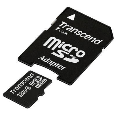 Transcend32GB microSDHC Class 4 Flash Memory Card with Adapter(TS32GUSDHC4)