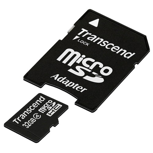 Transcend 32GB microSDHC Class 4 Flash Memory Card with Adapter