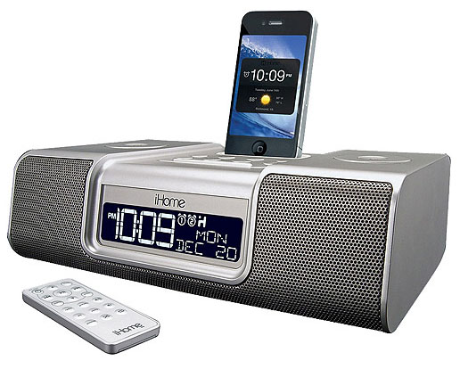 iHome Enhanced Stereo Dual Alarm Clock Radio for your iPhone/iPod with AM/FM Presets - Silver (iA9SZC)