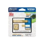 Brother TZeMQ835 - Laminated tape - white on satin gold - Roll (0.5 in x 16.4 ft) 1 roll(s) - for P-Touch GL-H100, PT-D400, D600, H100, H110, H300, H500, P700, P750; P-Touch EDGE PT-P750 TZEMQ835