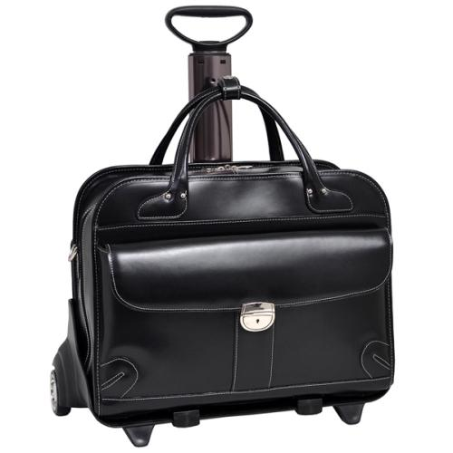 Mcklein Company Lakewood Fly-Through Checkpoint-Friendly 2-in-1 Removable-Wheeled Ladies' Laptop Case - Black