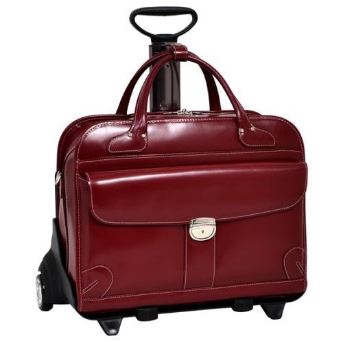 Mcklein Company Lakewood Fly-Through Checkpoint-Friendly 2-in-1 Removable-Wheeled Ladies' Laptop Case - Red