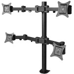 "Articulating Quad Monitor Desk Mount - Mounting kit (desk clamp mount, 4 mounting arms) for plasma / LCD / TV - steel - black - screen size: 13""-27"""