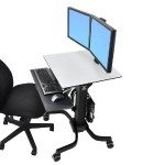 WorkFit-C Dual Sit-Stand Workstation - Cart for 2 LCD displays / keyboard / mouse / CPU - gray, black - screen size: 22""